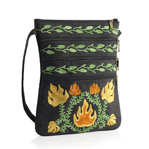 Hand Embroidered Multi Colour Floral and Leaves Pattern Black Suede Fabric Sling Bag (Size 27x20 Cm)