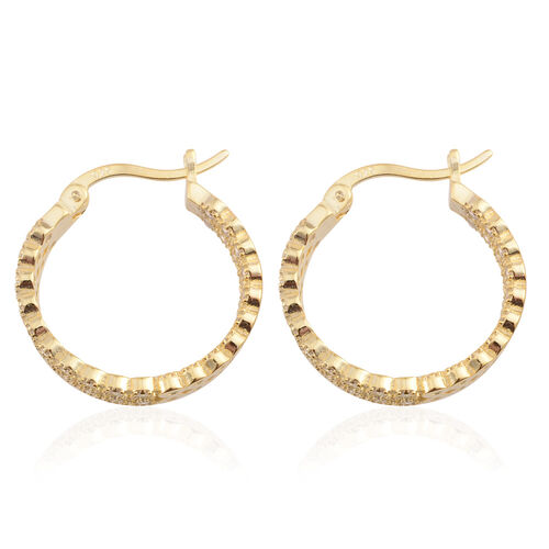 Brilliant Cut ELANZA AAA Simulated Diamond (Rnd) Hoop Earrings (with Clasp Lock) in 14K Gold Overlay Sterling Silver, Silver wt 4.50 Gms.