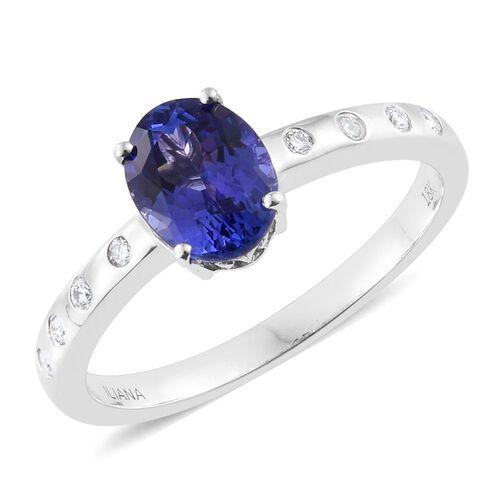 ILIANA 18K W Gold AAA Tanzanite (Ovl 1.50 Ct), Diamond (SI/G-H) Ring 1.615 Ct. Gold Wt 4.10 Gms