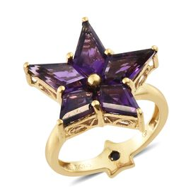 Limited Collection-GP Amethyst (Kite), Kanchanaburi Blue Sapphire Star Ring in 14K Gold Overlay Sterling Silver 5.000 Ct.