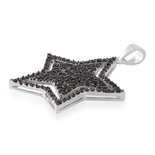 Red Carpet Collection-Boi Ploi Black Spinel (Rnd) Star Pendant in Rhodium Plated Sterling Silver 3.250 Ct. Number of Gemstone 126
