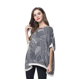 Black and White Colour Stripes Pattern Poncho (Size 135X100 Cm)