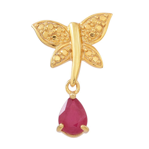 Designer Inspired-African Ruby (Pear) Butterfly Pendant in 14K Gold Overlay Sterling Silver 0.750  Ct.