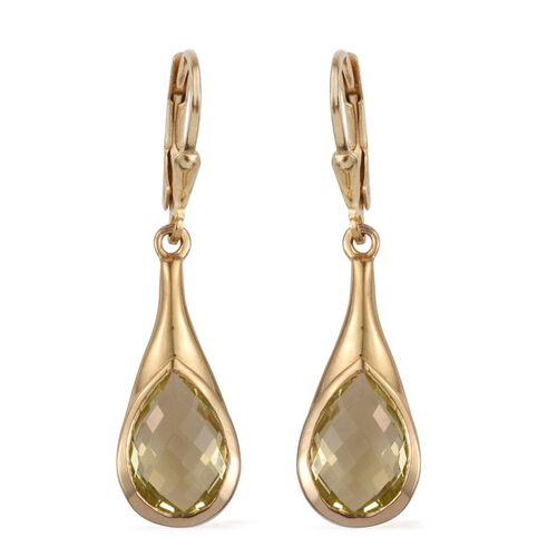 Natural Ouro Verde Quartz (Pear) Lever Back Earrings in 14K Gold Overlay Sterling Silver 5.750 Ct.