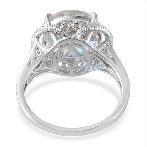 Mercury Mystic Topaz (Rnd 7.50 Ct), Diamond Ring in Platinum Overlay Sterling Silver 7.520 Ct.