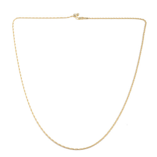 Close Out Deal 14K Gold Overlay Sterling Silver Adjustable Rope Chain (Size 24), Silver wt 4.30 Gms.