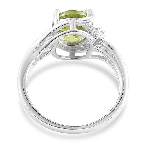 AA Hebei Peridot (Ovl 3.00 Ct) Ring in Platinum Overlay Sterling Silver 3.050 Ct.