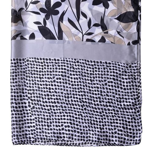Designer Inspired - Grey, Black and Beige Colour Flowers, Leaves and Dots Pattern Scarf (Size 180X90 Cm)