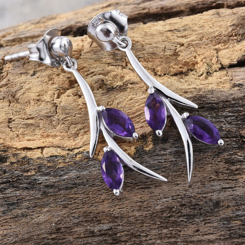 Amethyst 1.50 Ct Silver Earrings (with Push Back) in Platinum Overlay