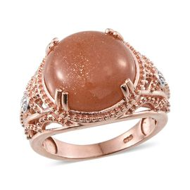Morogoro Peach Sunstone (Rnd) Solitaire Ring in Rose Gold Overlay Sterling Silver 9.750 Ct.