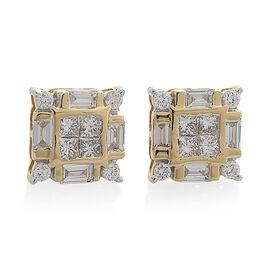 ILIANA 18K Yellow Gold IGI Certified Diamond (Bgt) (SI/G-H) Stud Earrings (with Screw Back) 1.000 Ct.