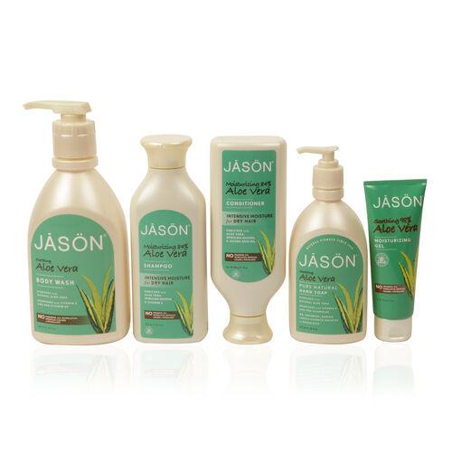Jason Aloe Vera- Body Wash 887ml, Everday Shampoo 473ml, Conditioner 454g, Liquid Soap 473ml, Moisturising Gel 113g