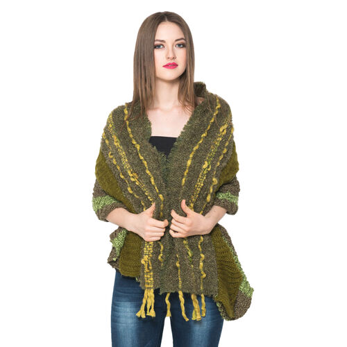 Army Green and Multi Colour Winter Scarf with Fringes (Size 175x90 Cm)