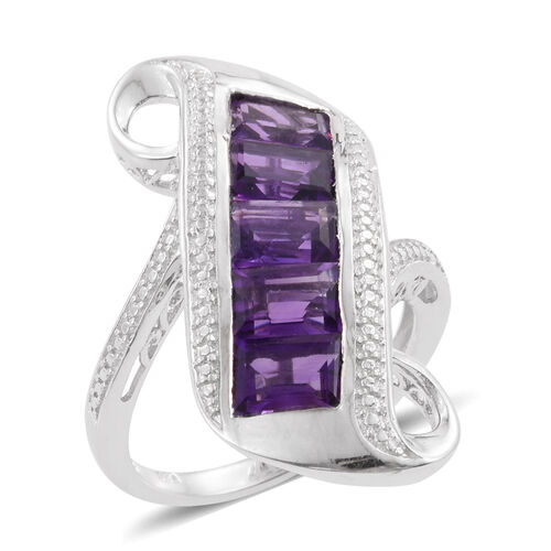 Amethyst (Bgt) 5 Stone Ring in Platinum Overlay Sterling Silver 4.500 Ct.