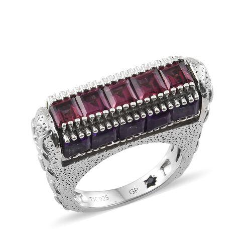GP Rhodolite Garnet (Sqr), Sky Blue Topaz, Hebei Peridot, Amethyst and Kanchanaburi Blue Sapphire Ring in Platinum Overlay Sterling Silver 8.000 Ct. Silver wt 8.83 Gms.