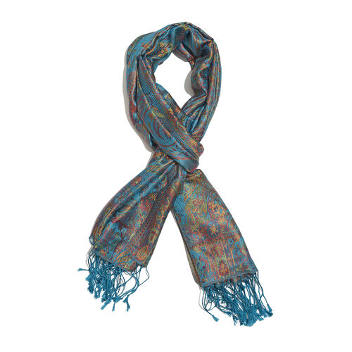 SILK MARK - 100% Superfine Silk Blue, Pink and Multi Colour Jacquard Scarf with Fringes (Size 180x70 Cm) (Weight 125 - 140 Grams)