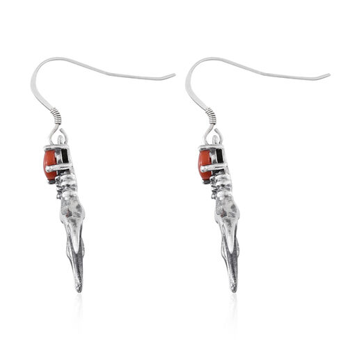 Tribal Collection of India Coral (Rnd) Hook Earrings in Sterling Silver 1.000 Ct.