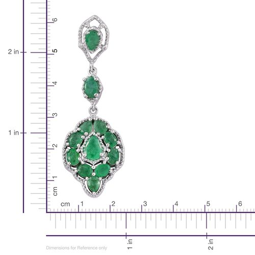Kagem Zambian Emerald (Pear) Dangle Earrings (with Push Back) in Platinum Overlay Sterling Silver 4.500 Ct.