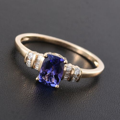 New York Collection - 14K Y Gold Tanzanite (Cush 1.00 Ct), Diamond Ring 1.100 Ct.