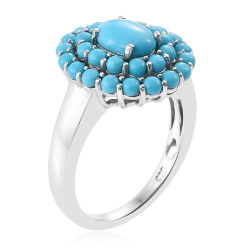 Sleeping Beauty Turquoise 2.50 Carat Silver Cluster Ring In Platinum Overlay
