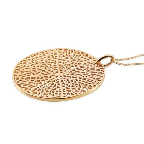14K Gold Overlay Sterling Silver Pendant With Chain, Silver wt 8.66 Gms.