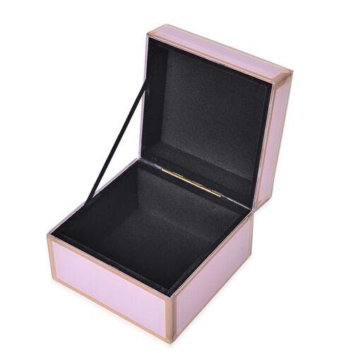 Home Decor - Pink Colour Glass Box (Size 12X12X8.5 Cm)