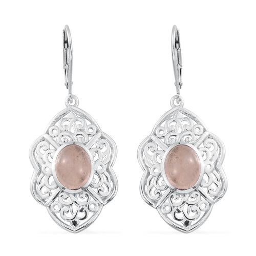 Marropino Morganite (Ovl) Lever Back Earrings in Platinum Overlay Sterling Silver 4.500 Ct.