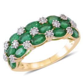 Limited Edition - 9K Y Gold AAA Kagem Zambian Emerald (Ovl), White Zircon Ring 4.000 Ct.