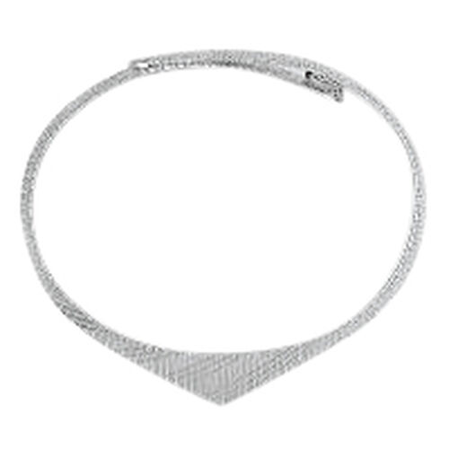 Vicenza Collection Rhodium Plated Sterling Silver Cleopatra Necklace (Size 18), Silver wt 25.40 Gms.