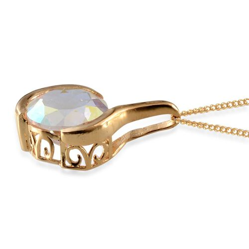 Mercury Mystic Topaz (Rnd) Solitaire Pendant With Chain in 14K Gold Overlay Sterling Silver 8.250 Ct.