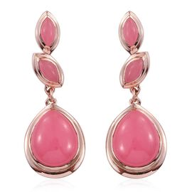 Pink Jade (Pear) Earrings (with Push Back) in Rose Gold Overlay Sterling Silver 11.000 Ct.