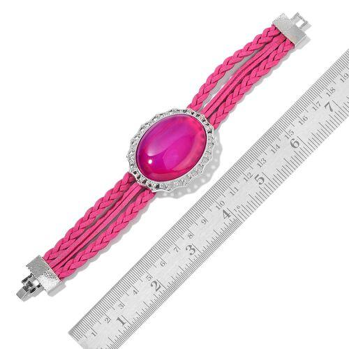 Fuchsia Agate Bracelet (Size 6.5) in Silver Tone 33.000 Ct.