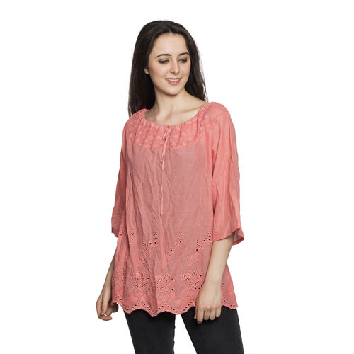 100% Cotton - Italian Punto Tagliato Technique Light Pink Colour Summer Top (Free Size)