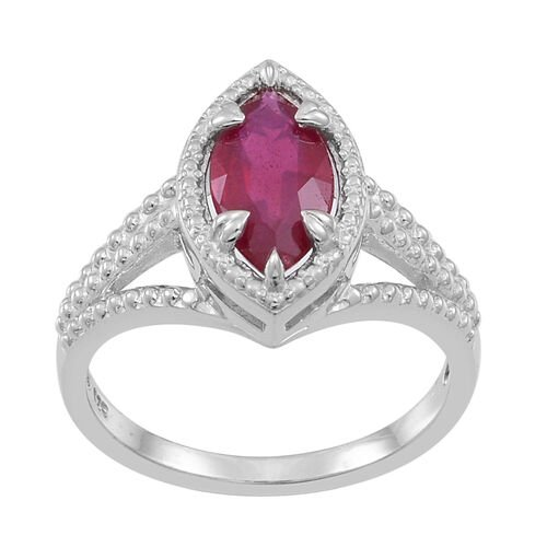 African Ruby (Mrq) Solitaire Ring in Rhodium Plated Sterling Silver 2.250 Ct.
