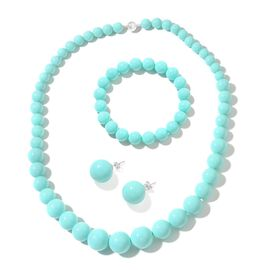 Turquoise Colour Shell Pearl (Rnd) Graduated Necklace (Size 20) with Magnetic Clasp, Stretchable Bracelet (Size 7) and Ball Stud Earrings (with Push Back) in Rhodium Plated Sterling Silver