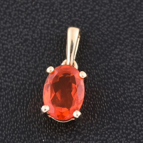 9K Y Gold AA Jalisco Fire Opal (Ovl) Solitaire Pendant 0.500 Ct.