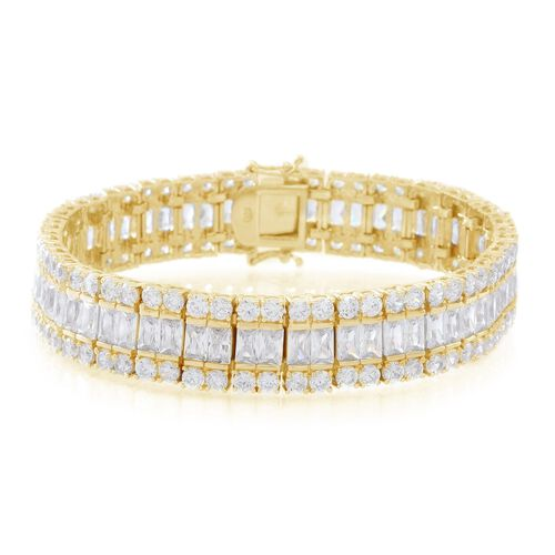 ELANZA AAA Simulated White Diamond (Oct) Bracelet (Size 7.5) in 14K Gold Overlay Sterling Silver Wt. 33.89 Gms Number of Simulated White Diamonds 180