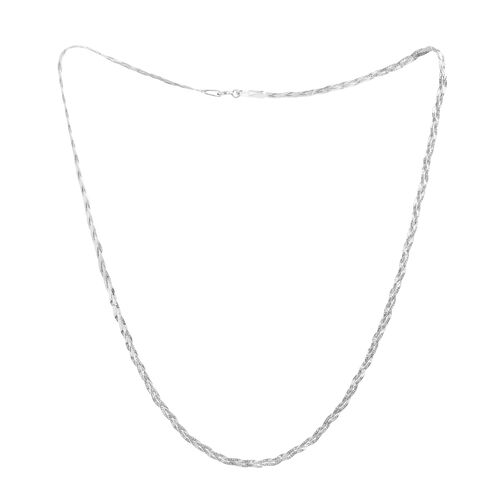 Rhodium Plated Sterling Silver Braided Chain (Size 18), Silver wt 3.70 Gms.