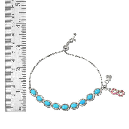 Arizona Sleeping Beauty Turquoise (Ovl), African Ruby Adjustable Bracelet (Size 6.5 to 8.5) with Infinity and Heart Charm in Platinum Overlay Sterling Silver 7.750 Ct. Silver wt. 9.50 Gms.