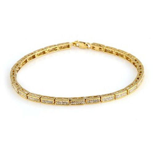Close Out Deal Diamond (Sqr) Bracelet in 14K Gold Overlay Sterling Silver (Size 7.5) 2.000 Ct.