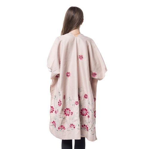 Designer Inspired Embroidered Floral Kimono (Beige) (One Size)