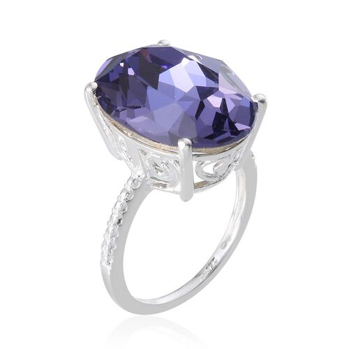 Crystal from Swarovski - Tanzanite Colour Crystal (Ovl) Ring in Sterling Silver 10.250 Ct.
