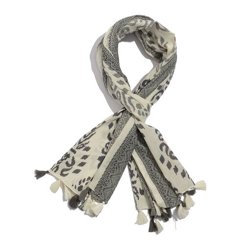 Designer Inspired Winter Special Grey, Off White and Black Colour Embroidered Cotton Scarf with Fringes (Size 165x70 Cm)