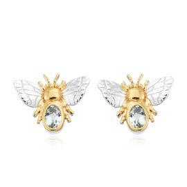 Espirito Santo Aquamarine Honey Bee Stud Earrings (with Push Back) in Platinum and Gold Plated Silver 0.75 Ct