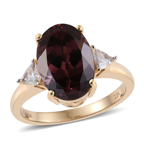 ILIANA 18K Y Gold AAA Change Colour Garnet (Ovl 5.75 Ct), Diamond Ring 6.000 Ct.
