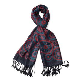 Dark Green, Red and Multi Colour Circle Pattern Scarf with Tassels (Size 170x70 Cm)