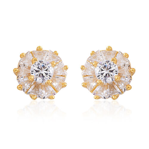 ELANZA AAA Simulated White Diamond (Rnd) Stud Earrings (with Push Back) in 14K Gold Overlay Sterling Silver