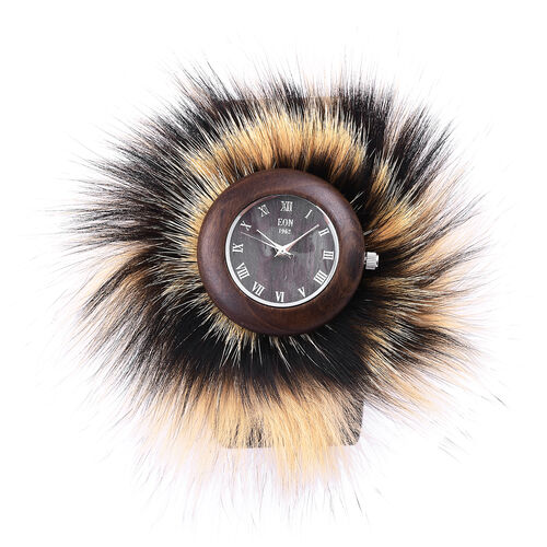 EON 1962 Japanese Movement Sandalwood Watch with Black and Yellow Fur and Black Colour Leather Strap