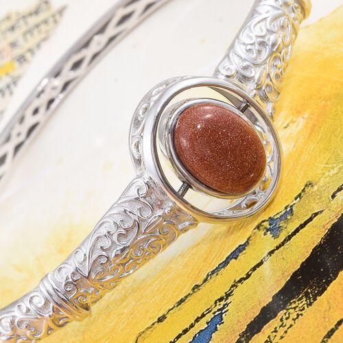 Designer Inspired-Blue Sandstone (Ovl), Gold Sandstone Reversible Bangle (Size 7.5) Platinum and Yellow Gold Plated