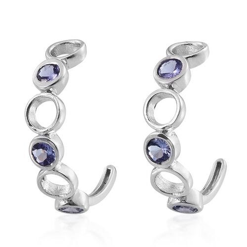 Tanzanite (Rnd) J Hoop Earrings (with Push Back) in Platinum Overlay Sterling Silver 1.400 Ct.